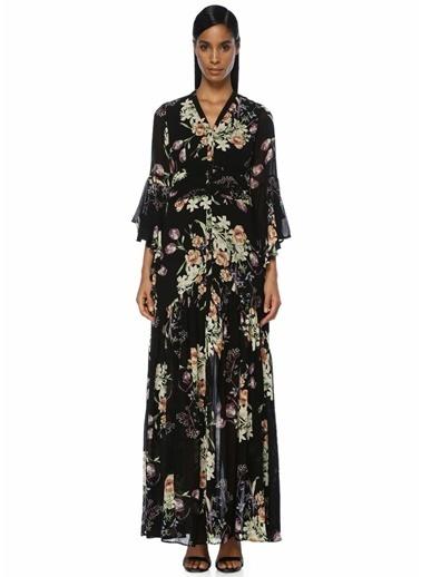By Timo Volan Detaylı Çiçek Baskılı Maxi Elbise Siyah